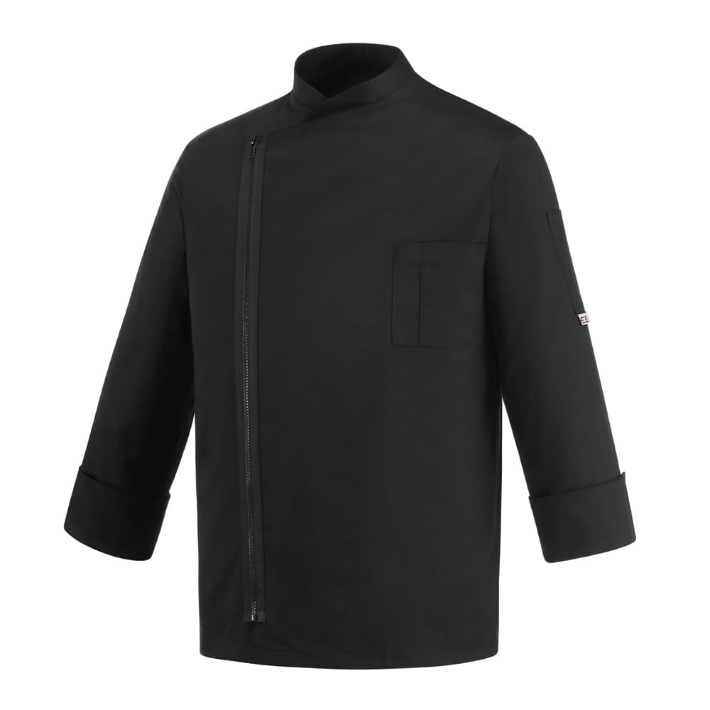 μπλούζα μάγειρα egochef μαύρη με φερμουάρ